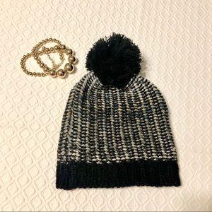 Madden Pom Pom Hat Black Metallic Beanie Winter